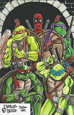 Charles Drake SIGNED Art Print Deadpool TMNT Teenage Mutant Ninja Turtles