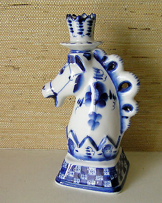 Vintage Russia Gzhel Porcelain / Chess Horse Figurine