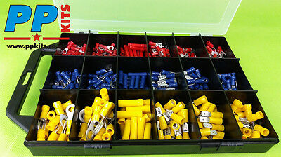 Assorted Insulated Electrical Wire Terminal Crimp Selection Kit x 360 Pieces