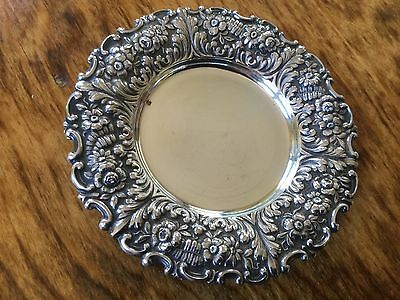 Tiffany & Co Antique Sterling Repousse Butter Condiment Coaster or Pin Tray FERN