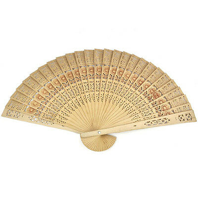 Chinese Folding Bamboo Original Wooden Carved Hand Fan fit Wedding Party B0