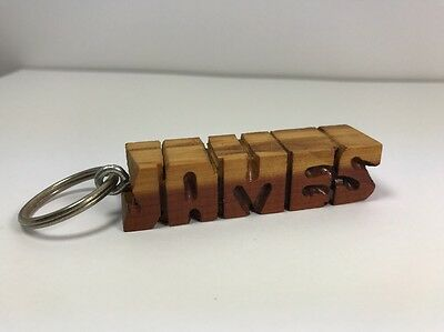 James Personalized Key Ring Key Chain Name Cedar Distressed Rustic 2Tone