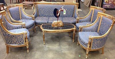 Sofa and Chair Set with Marble Top Coffee Table