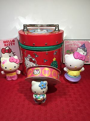 Lot of 7 HELLO KITTY collectibles... ROUND  ZIP TIN, Cards, DVD, Figures, Ribbon