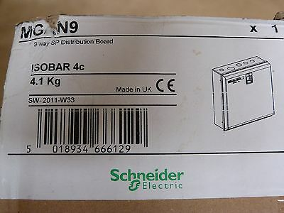 Schneider MGAN9 Isobar 4c 9 Way SP Distribution Board New