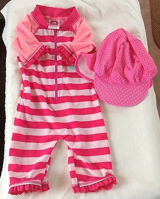 Baby Girls Pink  2 Piece Sun Suit & Hat To Fit Age 12/18 Months From H20 & Next
