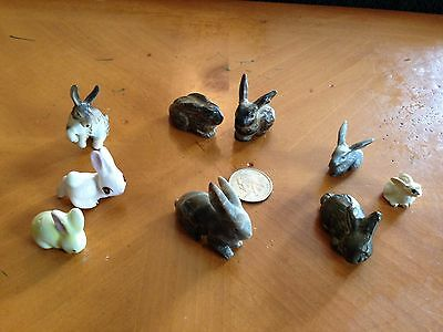 miniature bunny rabbit figurines lot of 9