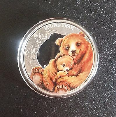Silver 50 Cents Tuvalu Mother's Love Brown Bear Coin