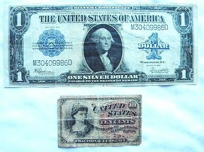 2 Old Circulated Notes 1923 $1 Large Silver Note & 1863 10 Cent Fractional Note