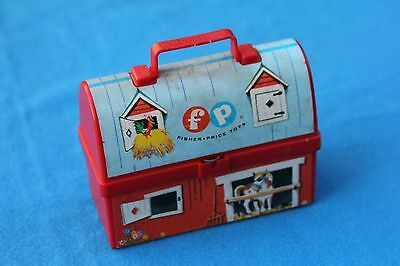 Fisher Price Toys plastic Red Barn Mini Toy Lunch Box Pail Thermos 1962 Vintage