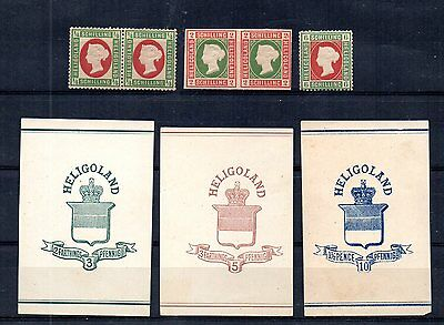 BRITISH HELIGOLAND LATE 1800s NICE SELECTION OF MINT, NEVER HINGED & CUT SQUARES