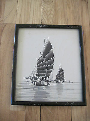 Antique Chinese Asian Hand Painted Boats At Sea On Silk Fabric