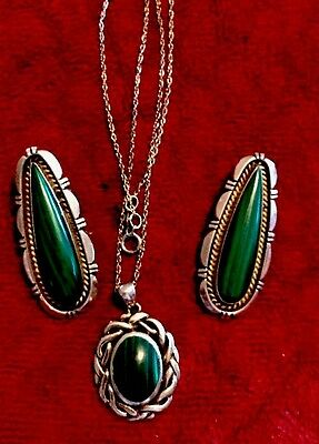 Sterling Malachite Clip Earrings By Elouise Kee And PSCL Malachite Pendant Chain