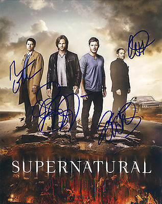 Supernatural Final Season Hand Signed Cast Of All 4 10x8 !