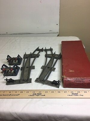 Antique Toy Tin Train Track Pieces. Hornby Meccano Switching points & Bumpers
