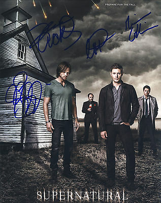 Supernatural Series Hand Signed Entire Cast Of All 4 10x8 !