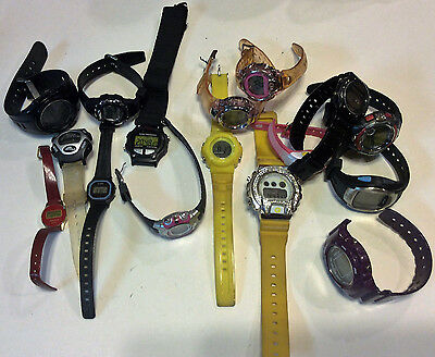 Lot of 16 wokring LCD watches, Armitron,ICERC and others,intact, sold as-is T162