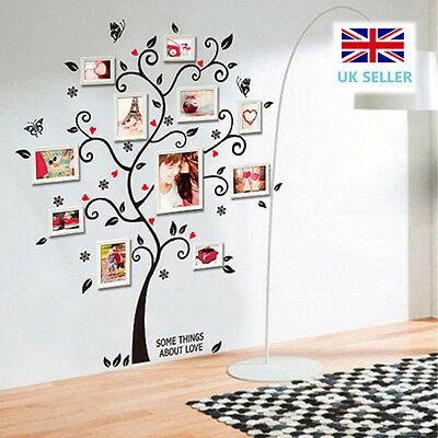 Large Tree Wall Sticker Family Vinyl Picture Photo Frame Art Decal Butterfly