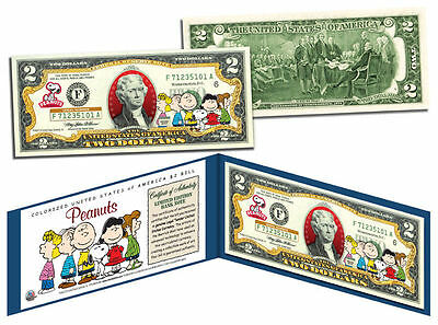PEANUTS Charlie Brown & The Gang USA $2 Dollar Bill Legal Tender