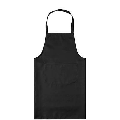 Black Plain Apron With Front Pocket Chefs Butchers Home Kitchen Cooking Craft 7