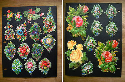 Antique Victorian Embossed Die Cuts Bouquets of Flowers, Roses (p.431)