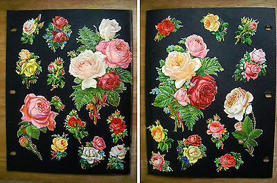 Antique Victorian Embossed Die Cuts Bouquets of Flowers, Roses (p.433)