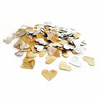 Silver & Gold Heart Wedding Confetti ❤ Party Table Decorations ❤ Biodegradable ❤
