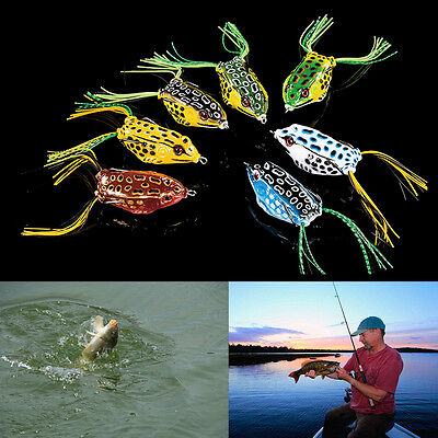 1PCS Cute Frog Topwater Fishing Lure Crankbait Hooks Bass Bait Tackle 7colors B0