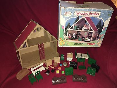 Sylvanian Families Country Cottage 1985 With Furniture & Accessories