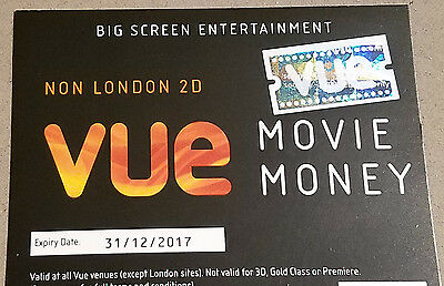 Vue cinema voucher for 2D film outside London, valid to end 2017