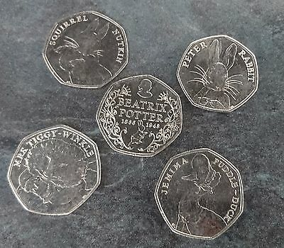 50p Beatrix Potter 50p full set of 5 coins Jemima Peter Nutkin Tiggy-Winkle