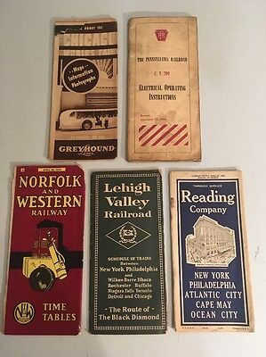 Lot Of Vintage Train And Bus Railroad Literature Worlds Fair Greyhound