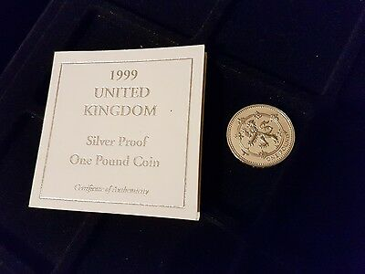 very rare 1999 rampant lion pound coin silver proof with coa