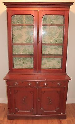 Antique Stepback Cabinets with Adjustable Shelves and Bubble Glass - East TN