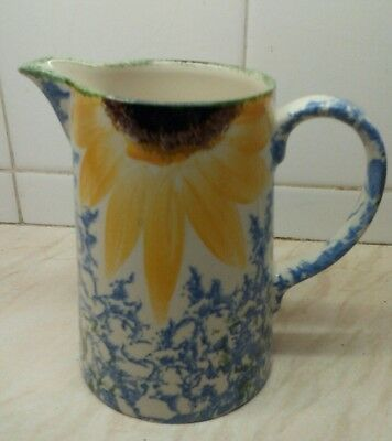 "POOLE POTTERY VINCENT SUNFLOWER MILK JUG 5.5"" tall"