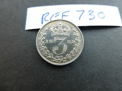 Victoria silver Maundy 3 pence coin 1889  Aunc   Ref 730