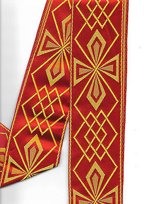 Liturgical Red / Yellow  Braid / Orphrey For Vestment - Altar Frontal - Chasuble