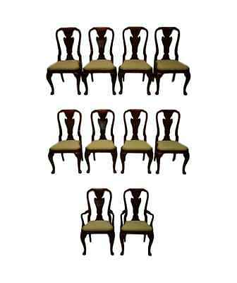 Baker Set of 10 Mahogany Queen Anne Style Dining Chairs