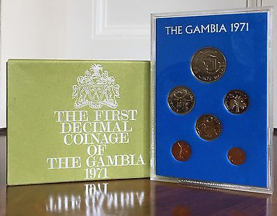 Gambia. First Decimal Coinage Set Of Six Coins, 1971. In Display Case.