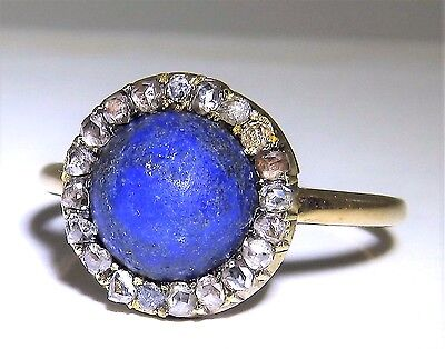 Victorian 15Ct Yellow  Gold Cabochon Lapis Lazuli Rose Cut Diamond Cluster Ring