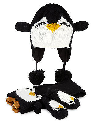 M&S Kids Penguin Hat Scarf Gloves Winter  18-36 MONTHS New with tags