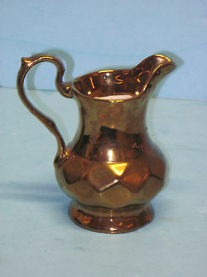 "Antique Wade England Gold Lusterware Pitcher Gold Diamond Shape Patten 5"" Creame"