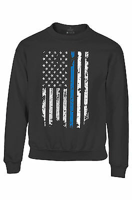 American Flag Blue Line USA Youth Crewneck Law Enforcement Police Sweatshirts