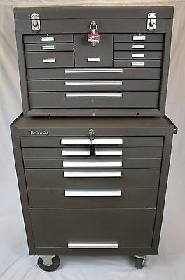 """Kennedy 3611 11-Drawer 26″ Machinists' Chest & 275 27"""" 5-Drawer Rolling Cabinet"""