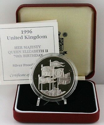 1996 Royal Mint Queen's 70th Birthday Silver Proof Crown £5 coin COA, Box