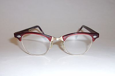 True Vtg Ladies Red ArtCraft 50s Eyeglasses Combo Frame Gold Filled Small