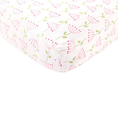 Touched by Nature Organic Cotton Fitted Crib Sheet, Pink Feather