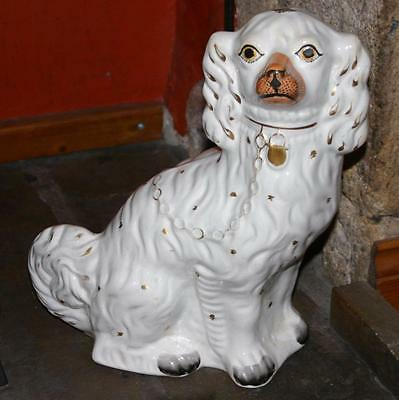 "Antique Staffordshire Pottery White Spaniel Hearth Dog - 12"" High"
