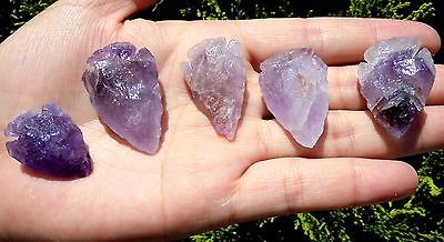 "Amethyst Handmade Arrowheads ~ Lot Of 5 Pieces ~ 1 - 1 1/2"" (3654)"