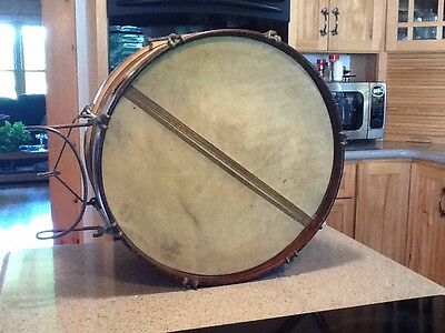 """Antique 16 X 7 1/2"""" Brass Body Wood Hoops Animal Skin Marching Snare Drum"""
